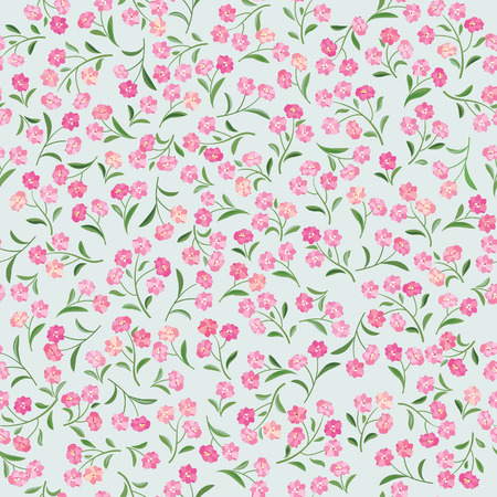Floral tiled pattern. Flower seamless background. Spring flourish bouquet textured ornament Illustration