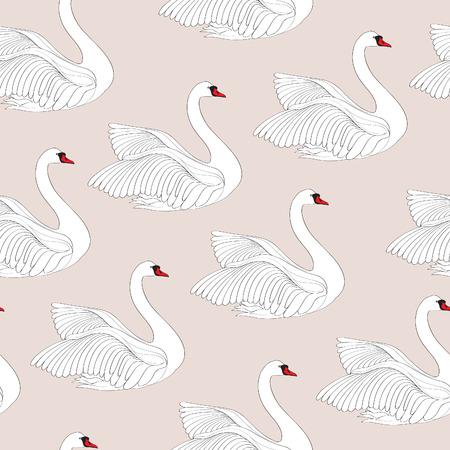 White bird seamless pattern. Swan tile ornamental background