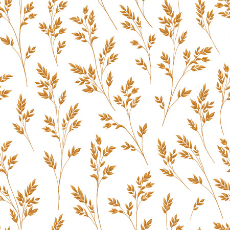 grain fields: Floral pattern with herb branch and leaves. Fall straw ornamental seamless background. Nature pattern with ear wheat