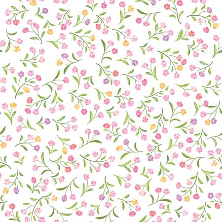 Floral white pattern. Flower seamless background. Spring flourish bouquet textured ornament