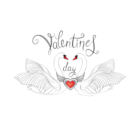 animalistic: Birds in love with winged red heart decoration and handwritten lettering St Valentines day. Couple of swans line art sketch. Two love hearts concept illustration.