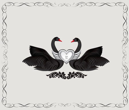 animalistic: Black birds in love with floral decoration. Couple of swans silhouette. Two love hearts concept illustration. Good for wedding, St Valentine greeting card decor, marriage annivesary design background.