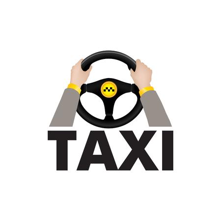 스티어링 휠 레터링을 들고 택시 드라이버 손 택시입니다. 도시 교통 서비스 노래 또는 로고 일러스트