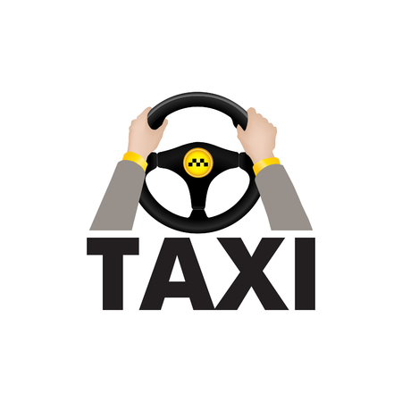 Taxi driver hands holding steering wheel with lettering TAXI. City car transportation service sing or logo