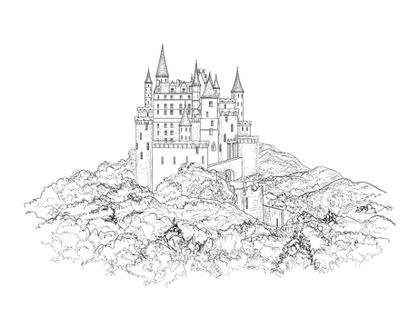 black ink: Famous French Castle Landscape. Travel france Background. Castle building on the hill skyline etching. Hand drawn sketch  illustration.