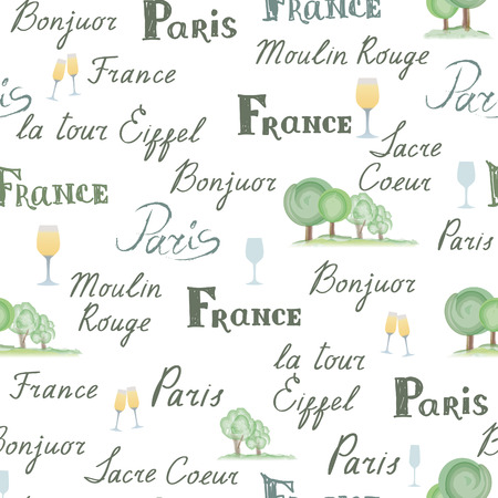 french cuisine: Travel France tile background. Paris city seamless pattern. Handwritten lettering, nature design elements, trees, wine glasses. French cuisine cafe decoration concept Illustration
