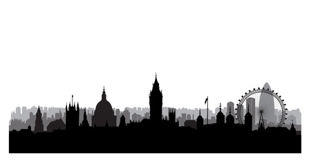 black: London city buildings silhouette. English urban landscape. London cityscape with landmarks. Travel Untied Kingdom skyline background