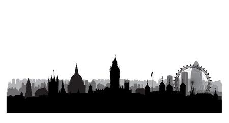 Silhouette di costruzioni cittadine di Londra. Paesaggio urbano inglese. Paesaggio urbano di Londra con i punti di riferimento. Viaggi Untied Kingdom skyline background