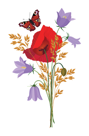 bluebell: Summer flowers isolated. Floral bouquet. Meadow nature decor with bluebell, poppy and butterfly