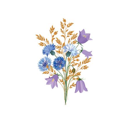 Fleurs isolées Bouquet d'été floral. Décor nature Meadow avec jacinthes et bleuets bleus