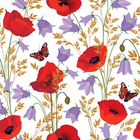 bluebell: Flowers seamless pattern. Floral summer bouquet  tile background. Meadow nature decor with bluebell, poppy and butterfly