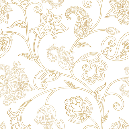 Floral pattern. Seamless oriental arabesque background. Tiled ornament with fantastic wonderland flowers in arabic damask style. Illustration
