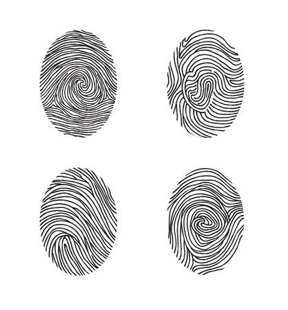 dactylogram: Fingerprint set. Abstract lswirl line decor elements with fingers print