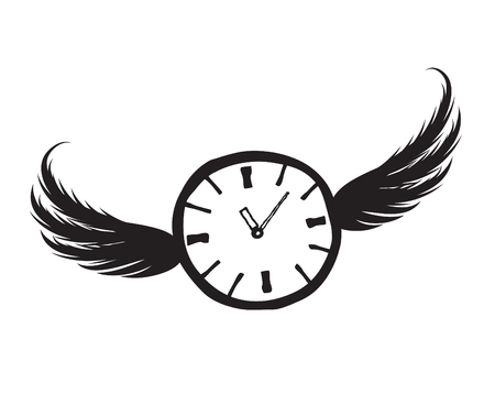Lost time concept. Doodle watch dial with wings