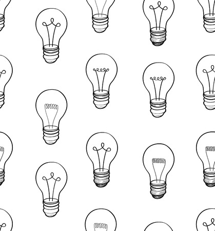 electric bulb: Bulb white background. Electric lamp seamless pattern. Doodle line sketch ornamental decor