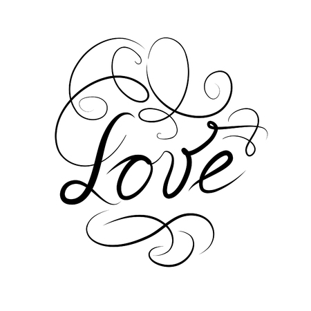 tattoo design: Calligraphic Doodle Love Sign with handwritten lettering LOVE. Swil Line Typography Valentines day holiday ornamental vignette decor element. Good for wedding, greeting card, bridal invitation, tattoo design