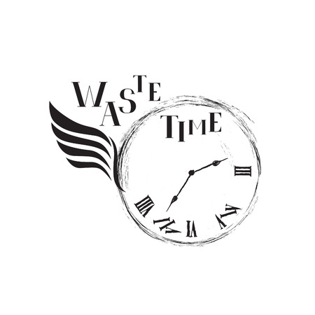 time fly: Waste time sign concept. Doodle retro watch dial with wing, damaged numbers