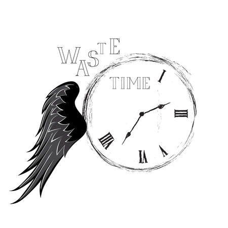 Waste time concept. Doodle retro watch dial with handwritten lettering and damaged numbers 向量圖像