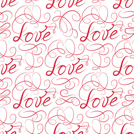 Love seamless pattern. Doodle ornamental swirl calligraphic vignette background with handwritten lettering LOVE.