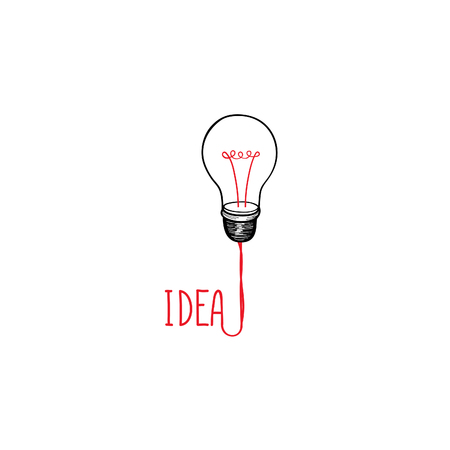 idea sketch: Lamp bulb isolated over white background with handwritten lettering. Great idea icon concept. Doodle line hand drawn sketch illustration