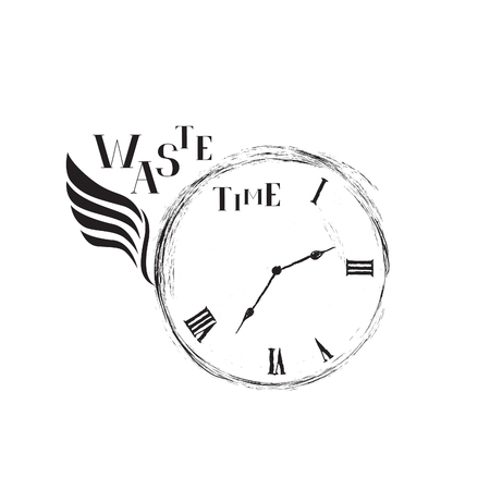 Waste time sign concept. Doodle retro watch dial with wing, damaged numbers