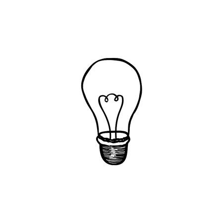 lampada: Lampadina. Lampada elettrica Doodle linea di arredamento abbozzo