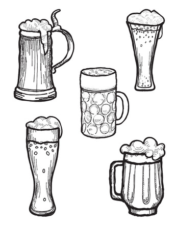 mug: Beer ware set in retro style. Beer Mug and  Beer Glass silhouette doodle engraved collection.