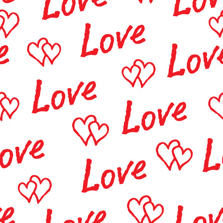 Red love hearts and handwritten lettering LOVE seamless pattern. Doodle sketch holiday tile ornament Illustration
