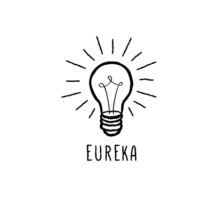 idea bulb: Lamp bulb isolated over white background with handwritten lettering. Great idea icon concept. Doodle line hand drawn sketch illustration