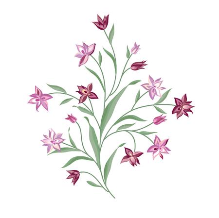 Floral bouquet set. Wild  flower botanical  background. Vegetation ornamental design element for greeting card. Spring nature. Flourish garden decor collection Illustration