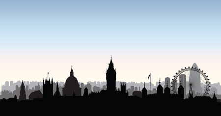 London city buildings silhouette over morning sky. English urban landscape. London cityscape with landmarks. Travel Untied Kingdom skyline background. Stock Vector - 71665686