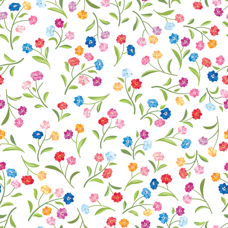 Flowers seamless pattern. Floral summer bouquet tile background.