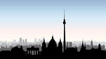 Berlin city buildings silhouette. German urban landscape. Berlin cityscape with landmarks. Travel Germany skyline background.