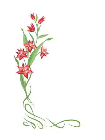 vintage border: Flower frame. Swirl vignette border decor. Floral bouquet summer decorative element for greeting card design. Nature  background Illustration