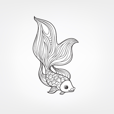 Fish isolated on white background. Doodle Line Art  pattern of underwater marine life in retro chinese style.