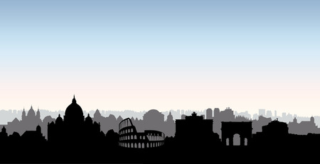 Rome city skyline. Italian urban landscape landmark silhouette. Rome urban architectural background. Cityscape with famous buildings. Travel Italy card