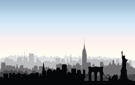 new york skyline: New York, USA skyline. NYC city silhouette with Liberty monument. American landmarks. Urban  architectural landscape. Cityscape with famous buildings