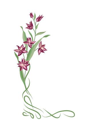 Marco de la flor. Decoración de la frontera de la viñeta del remolino. Elemento decorativo del verano del ramo floral para el diseño de la tarjeta de felicitación. Fondo de la naturaleza