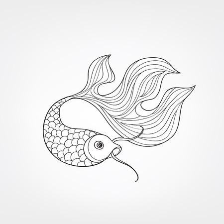 koi: Fish isolated on white background. Doodle Line Art  pattern of underwater marine life in retro chinese style.