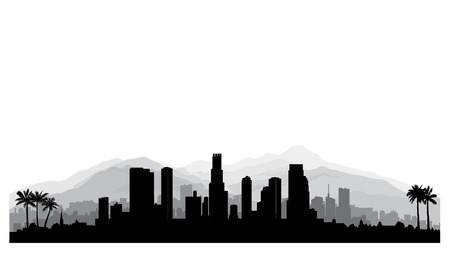 Los Angeles, USA skyline. City silhouette with skyscraper buildings, mountains and palm trees. Cityscape with famous american landmarks. Urban architectural landscape. Ilustração