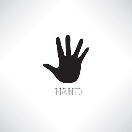 Helping hand icon. Human hand silhouette with shadow and handwritten lettering Illustration