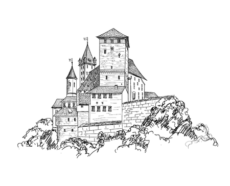 Ancient castle landscape engraving. Tower building sketch skyline