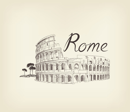 Rome famous place with lettering Travel Italy background. City landmark engraving sign Stock Illustratie