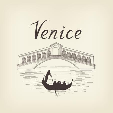 rialto: Venice famous place view Travel Italy background. City bridge retro engraving Illustration