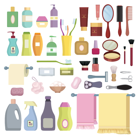 hairpin: Beauty care related object set. Hygiene symbols. Bath supplies, shower, tooth care, brushes, towel and razors. Illustration