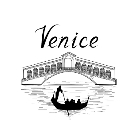 Venedig berühmten Platz Ansicht. Reisen Italien Hintergrund. Stadtbrücke retro Gravur Vektorgrafik