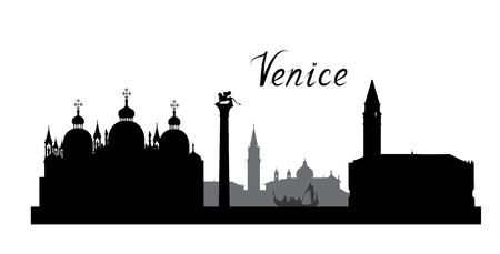 Venice famous landmarks skyline. Travel Italy background. City silhouette Ilustrace