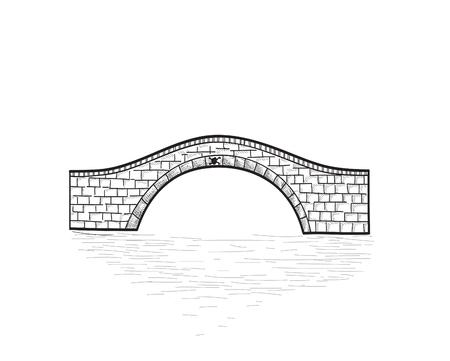 작은 돌 다리 절연. 조각 레트로 그림입니다. 낙서 라인 아트