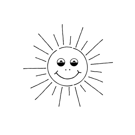 Smiling sun cartoon. Summer holiday doodle sign Happy funny face Illustration