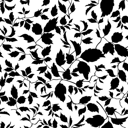 Abstract leaf lush floral seamless pattern. Branch with leaves  background. Flourish nature garden texture